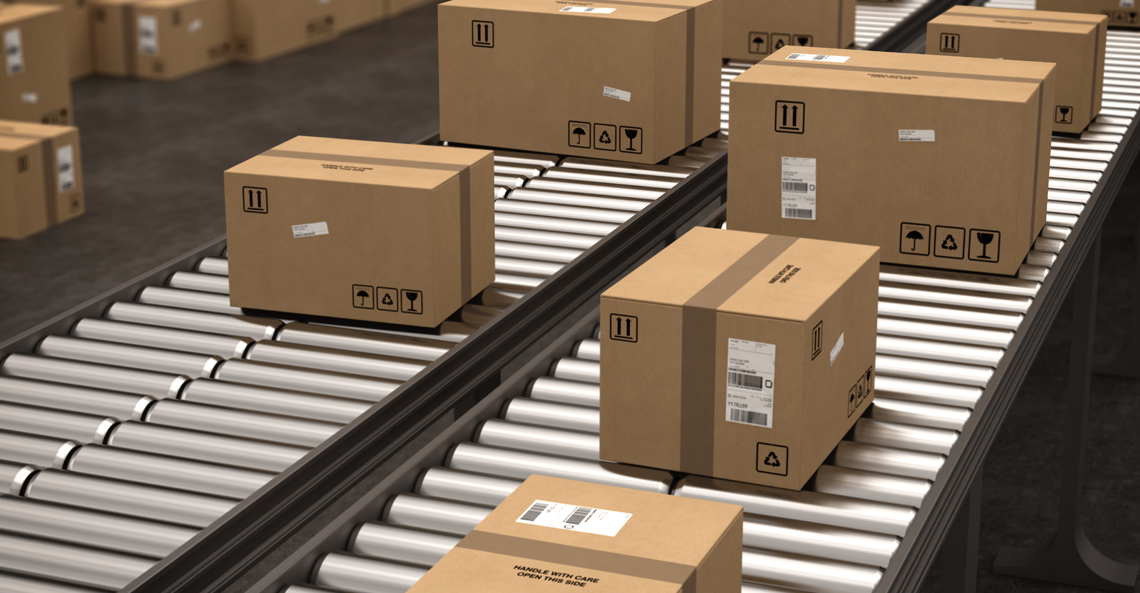 Boxes On A Conveyer Tray