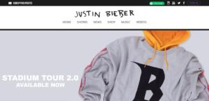 Justin Bieber website screenshot