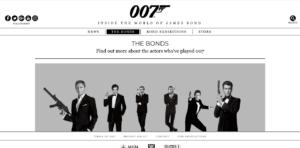 James Bond website screenshot